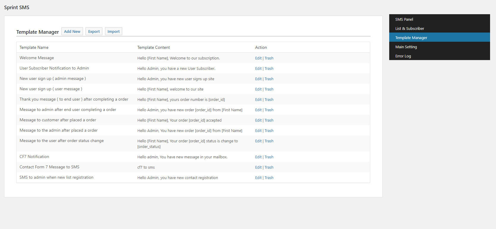 WordPress SMS Template Manager