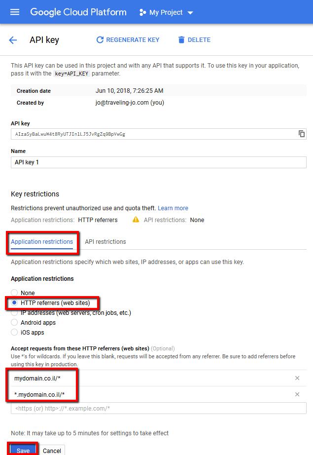 google maps api key application restrictions